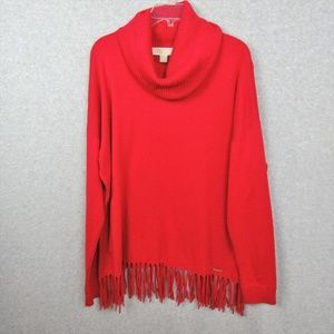 Long Sleeve Cowl Neck Sweater Red Size XL